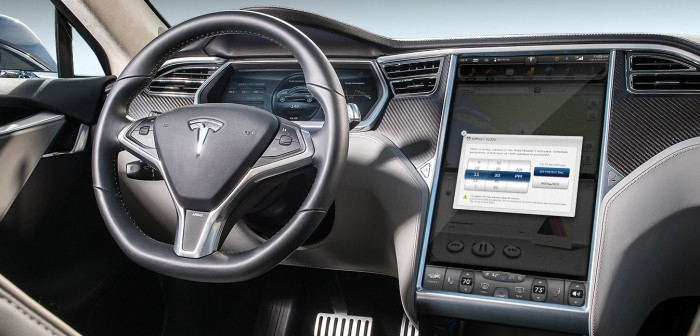 Inside a Tesla car
